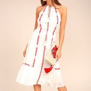 LULUS When You Smile White Embroidered Dress